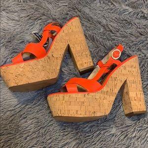 Diane von Furstenberg NWT Neon Orange Heels